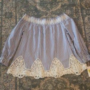NWT Gibson Latimer Crochet Off Shoulder Blouse